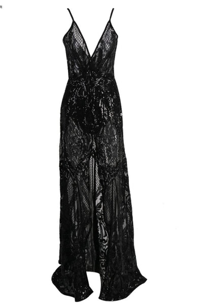 Honey Couture ALINA Black 3D Crystal Lace Effect Evening Gown Dress