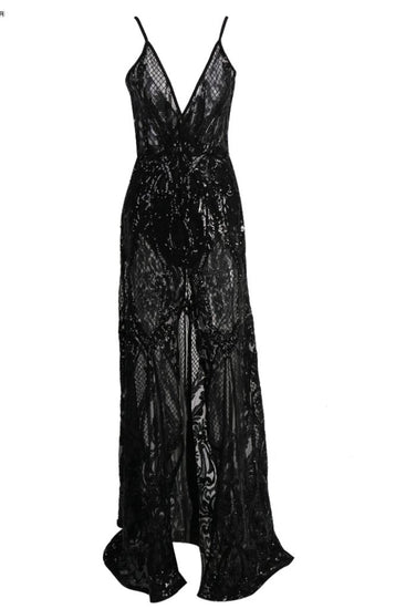 Honey Couture ALINA Black 3D Crystal Lace Effect Evening Gown DressHoney CoutureOne Honey Boutique AfterPay OxiPay ZipPay