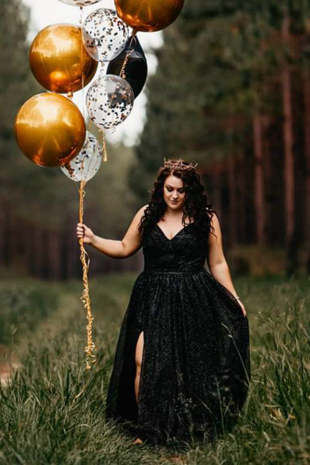 Honey Couture AVA Black Glitter Sparkle Ball Gown Formal Dress Honey Couture Custom$ AfterPay Humm ZipPay LayBuy Sezzle