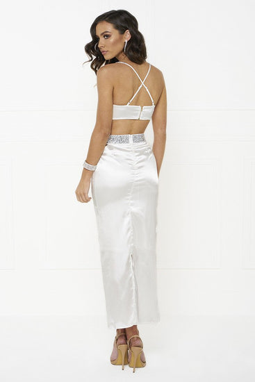 Honey Couture MADDIE White Satin Crop Bustier Top Maxi Skirt SetHoney CoutureOne Honey Boutique AfterPay OxiPay ZipPay