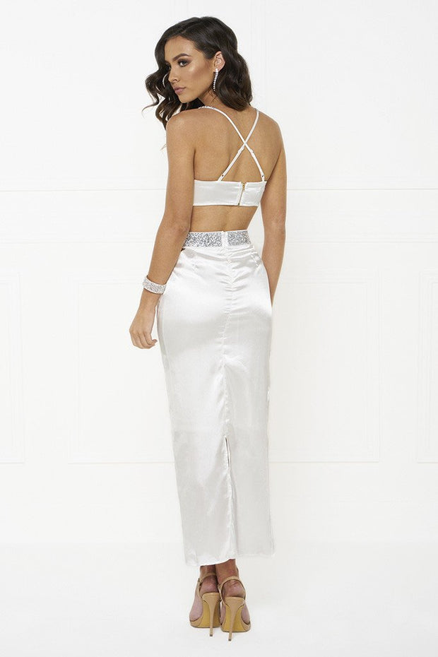 Honey Couture MADDIE White Satin Crop Bustier Top Maxi Skirt Set Honey Couture$ AfterPay Humm ZipPay LayBuy Sezzle