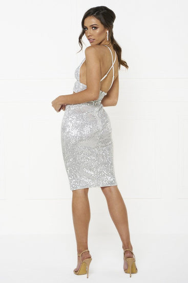 Honey Couture KELSEY Silver Sequin Crop Top and Skirt SetHoney CoutureOne Honey Boutique AfterPay OxiPay ZipPay
