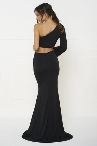 Honey Couture HARPER Black One Shoulder Drape Sleeve Crop Top and Skirt Set Honey Couture One Honey Boutique AfterPay ZipPay OxiPay Laybuy Sezzle Free Shipping