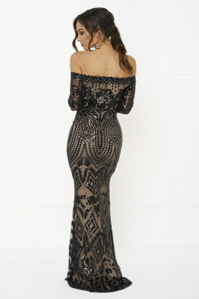 Honey Couture MISHKA Black Sequin Formal Gown Dress Australian Online Store One Honey Boutique AfterPay ZipPay