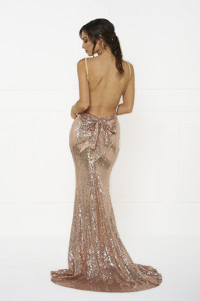 Honey Couture KRISTY Gold Low Back Bow Sequin Formal Gown Dress Australian Online Store One Honey Boutique AfterPay ZipPay