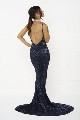 Honey Couture ROSALIE Blue Low Back Sequin Formal Gown Dress Honey Couture One Honey Boutique AfterPay ZipPay OxiPay Sezzle Free Shipping