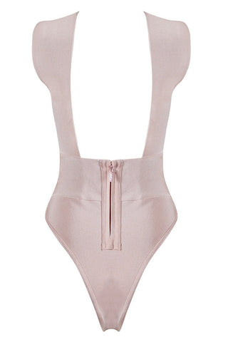 Bandage Bodysuit - Honey Couture MALIA Blush Pink Cross Over Bandage Bodysuit