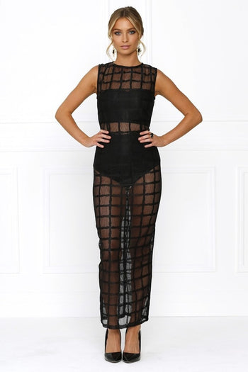 Bandage Dress - Honey Couture AISHA Black Mesh Cage Bodycon Dress