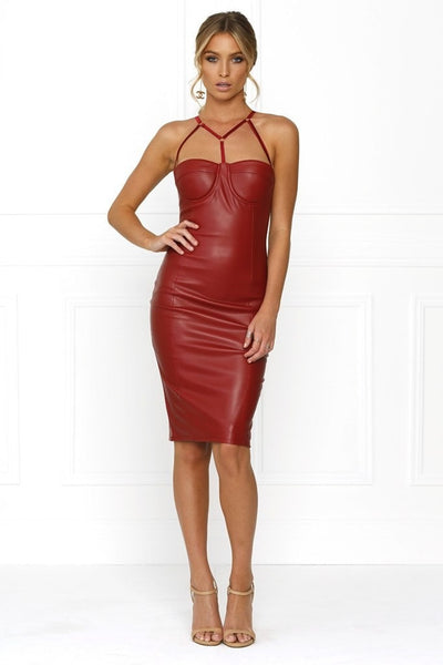 Honey Couture AMINA Burgundy Vegan Leather Bodycon Dress