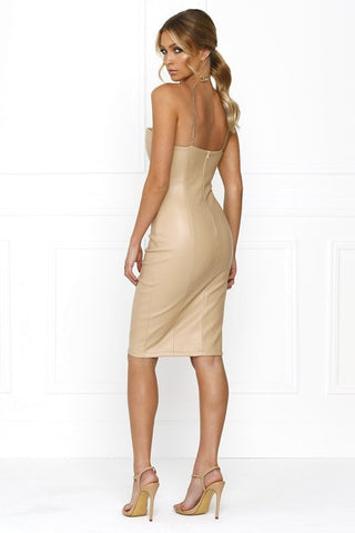 Bandage Dress - Honey Couture AMINA Nude Vegan Leather Bodycon Dress