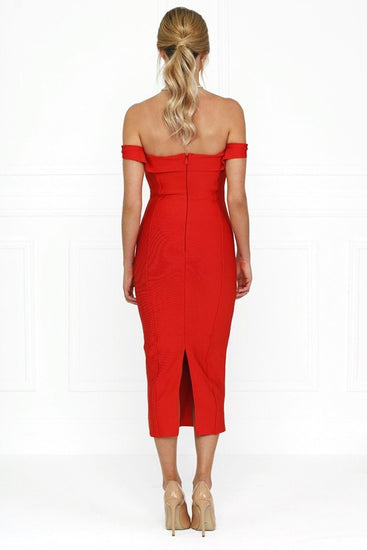 Honey Couture BECKY Red Off Shoulder Bustier Bandage DressHoney CoutureOne Honey Boutique AfterPay OxiPay ZipPay