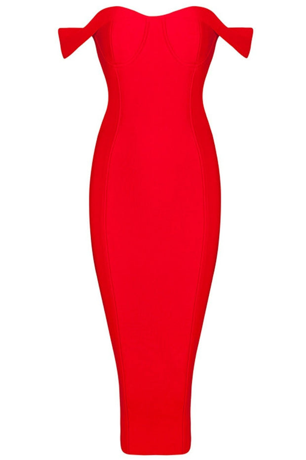 Honey Couture BECKY Red Off Shoulder Bustier Bandage Dress Honey Couture$ AfterPay Humm ZipPay LayBuy Sezzle