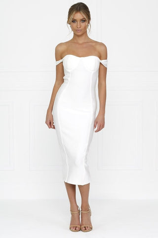 Bandage Dress - Honey Couture BECKY White Off Shoulder Bustier Bandage Dress