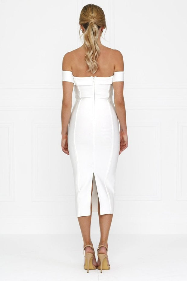Honey Couture BECKY White Off Shoulder Bustier Bandage Dress Honey Couture$ AfterPay Humm ZipPay LayBuy Sezzle