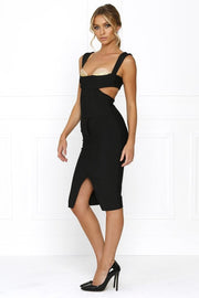 Bandage Dress - Honey Couture CARLA Designer Black Cut Out Bandage Dress