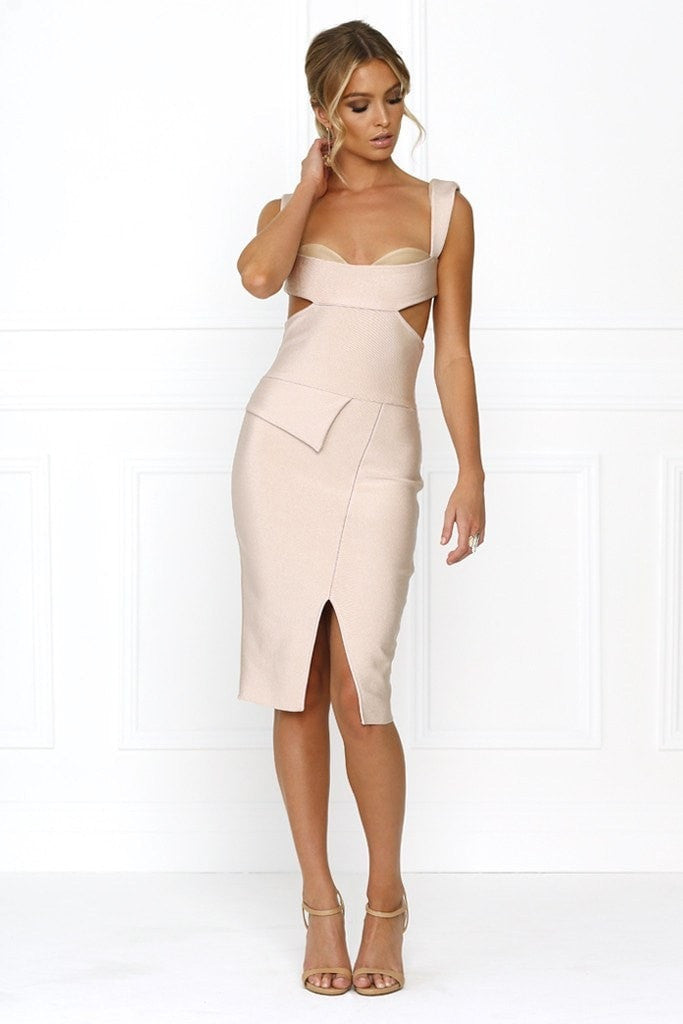Honey Couture CARLA Designer Pink Cut Out Bandage Dress