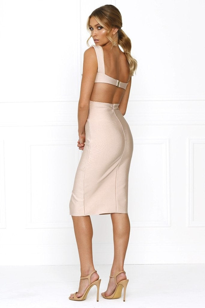Bandage Dress - Honey Couture CARLA Designer Pink Cut Out Bandage Dress