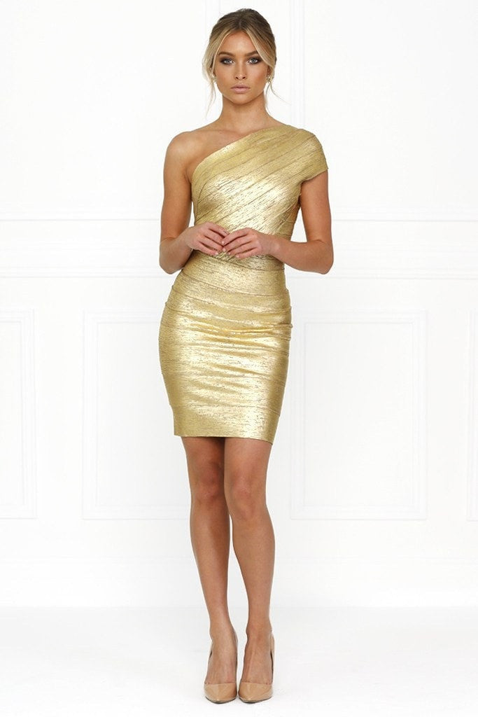 Honey Couture DANA Gold Foil One Shoulder Bandage Dress