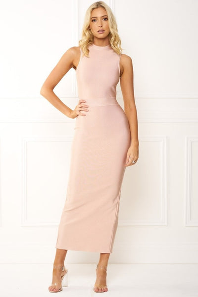 Honey Couture EILEEN Pink Turtleneck Bandage Bodycon Maxi Dress