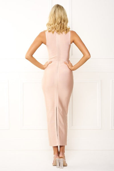 Bandage Dress - Honey Couture EILEEN Pink Turtleneck Bandage Bodycon Maxi Dress