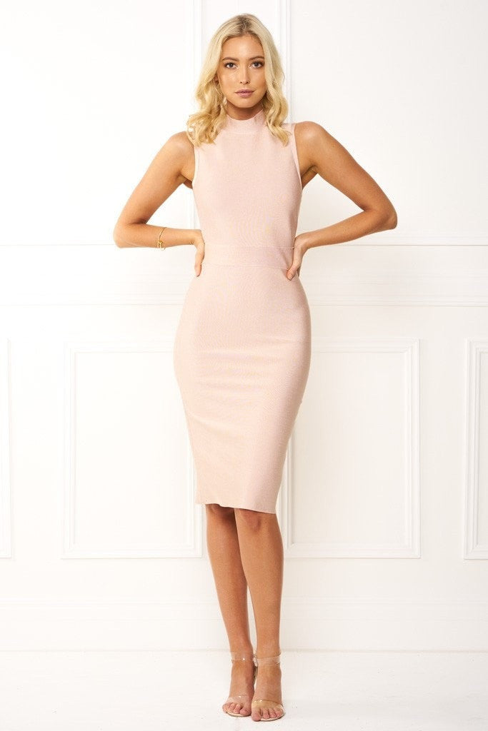 Honey Couture EILEENA Pink Turtleneck Bandage Bodycon Midi Dress