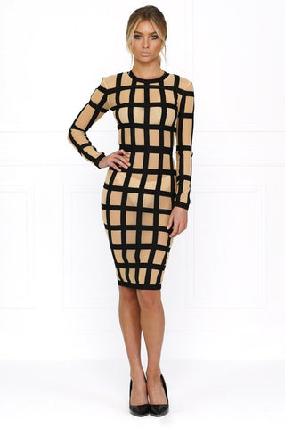 Bandage Dress - Honey Couture HARLOW Caged In Striped Bodycon Dress
