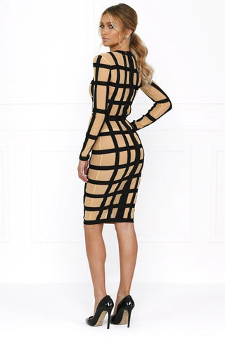 c6193a9b4ee ... Bandage Dress - Honey Couture HARLOW Caged In Striped Bodycon Dress
