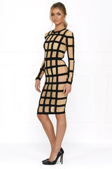 Honey Couture HARLOW Caged In Striped Bodycon Dress