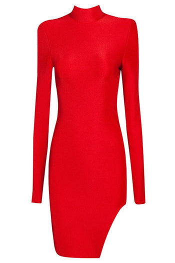 Bandage Dress - Honey Couture IGGY Red Long Sleeve Bandage Mini Dress