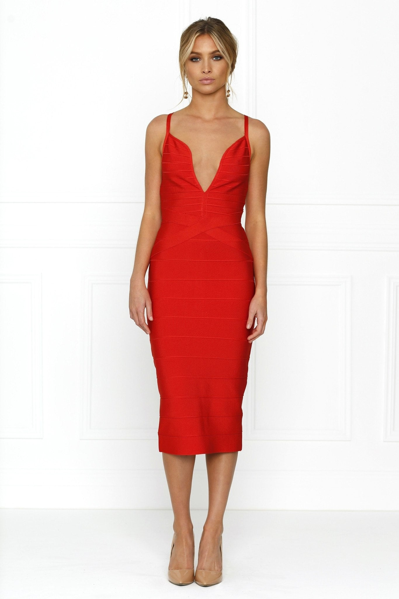 Honey Couture KASEY Red Deep V Midi Bandage Dress