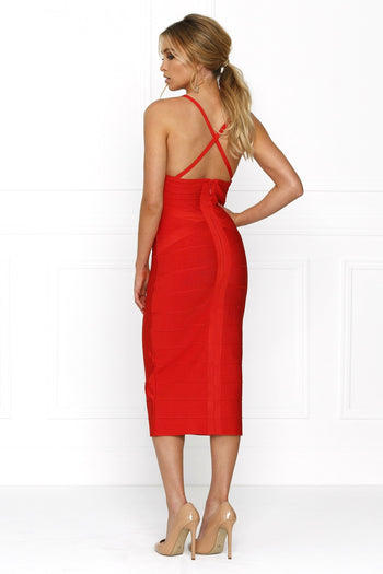 Bandage Dress - Honey Couture KASEY Red Deep V Midi Bandage Dress