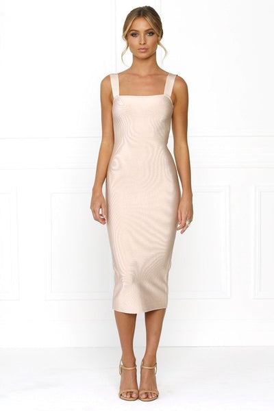 Honey Couture KAYLA Pink Thick Strap Midi Bandage Dress