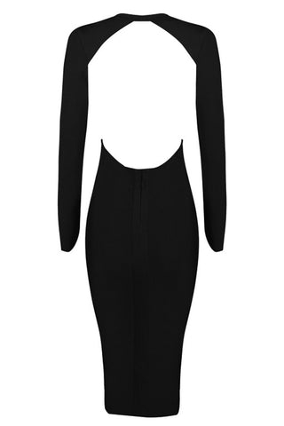 Bandage Dress - Honey Couture KENDRA Black Deep V Bandage Dress