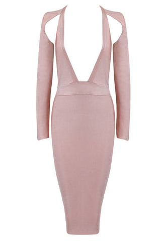 Bandage Dress - Honey Couture KENDRA Nude Deep V Bandage Dress