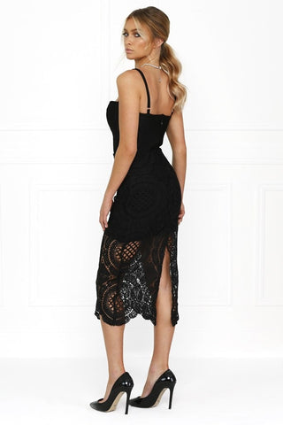 Bandage Dress - Honey Couture MICHELLE Black Crochet Bustier Bodycon Dress