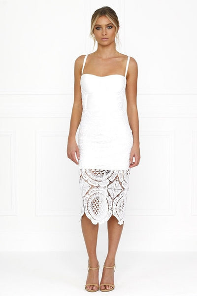 Honey Couture MICHELLE White Lace & Crochet Bustier Bodycon Dress