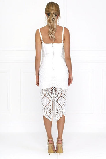 Honey Couture MICHELLE White Lace & Crochet Bustier Bodycon DressHoney CoutureOne Honey Boutique AfterPay OxiPay ZipPay