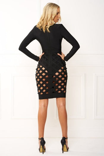 Bandage Dress - Honey Couture MILEY Black Cage Skirt Long Sleeve Bandage Dress