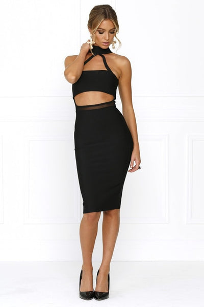 Honey Couture MISHA Black Mesh Halter Bandage Dress