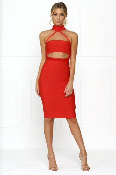 Honey Couture MISHA Red Mesh Halter Bandage Dress