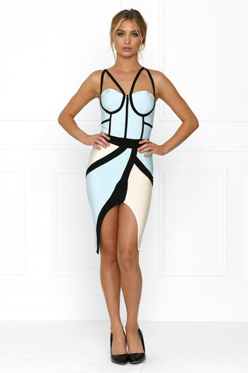 Bandage Dress - Honey Couture MONICA Grey & Green Lines Bandage Dress
