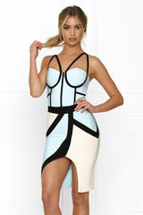 Honey Couture MONICA Grey & Green Lines Bandage Dress