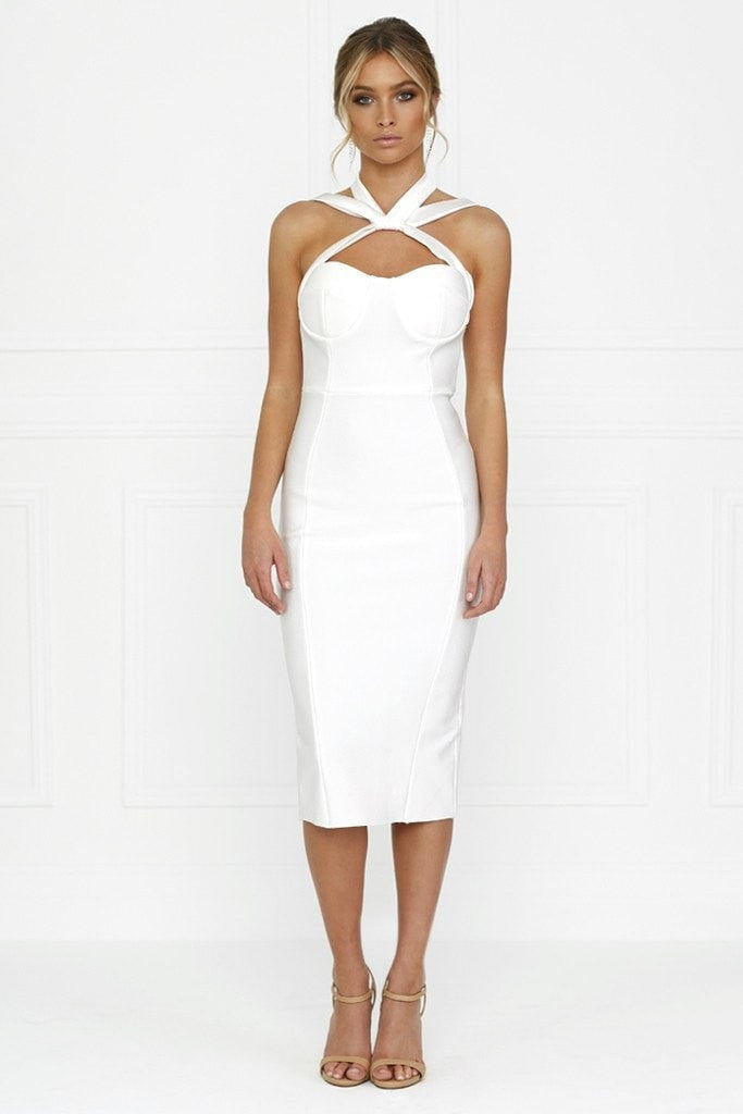 Honey Couture NICOLA White Satin Tie Bustier Bandage Dress