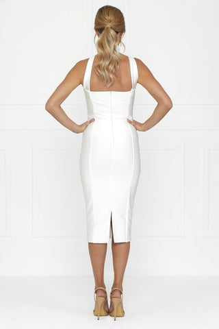 Bandage Dress - Honey Couture NICOLA White Satin Tie Bustier Bandage Dress