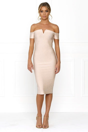 Bandage Dress - Honey Couture OLIVIA Baby Pink Off Shoulder Bandage Midi Dress