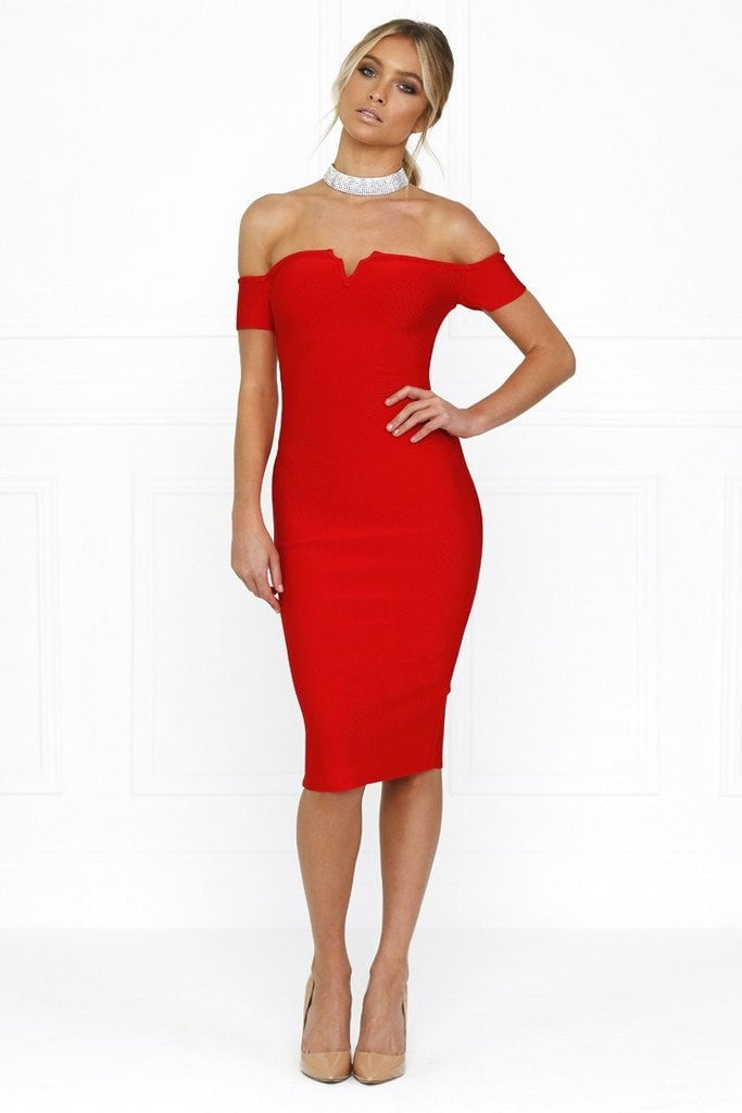 Honey Couture OLIVIA Red Off Shoulder Bandage Midi Dress