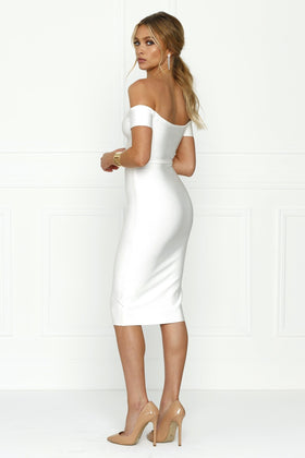 Honey Couture OLIVIA White Off Shoulder Bandage Midi DressHoney CoutureOne Honey Boutique AfterPay OxiPay ZipPay