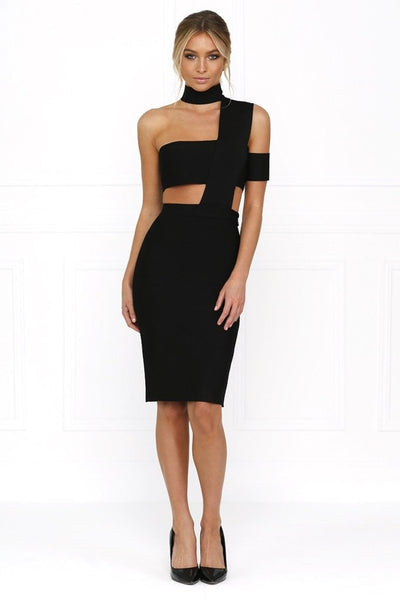 Honey Couture SARA Black Cut Out Bandage Dress