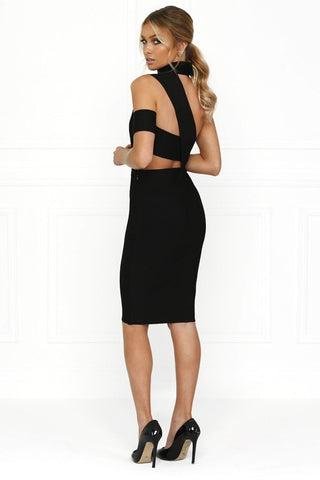 Bandage Dress - Honey Couture SARA Black Cut Out Bandage Dress