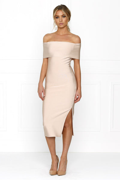 Honey Couture SOPHIE Pink Off Shoulder Bandage Dress w Split